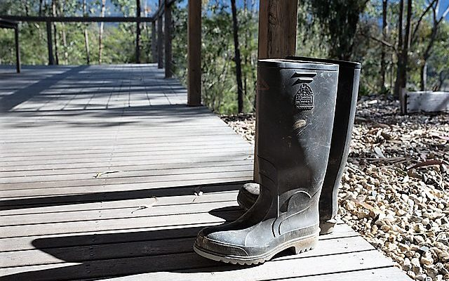 Rubber Work Boots on a Deck