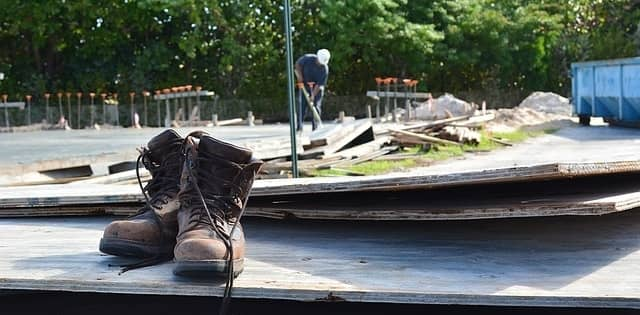 work boots at a construction site