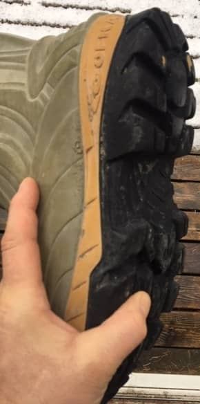 Worn tread of Cofra rubber boot