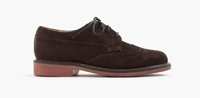 One single brown suede shoe