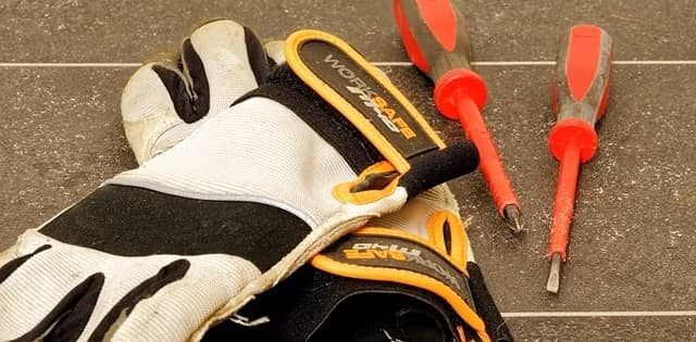 A pair of electrical work gloves