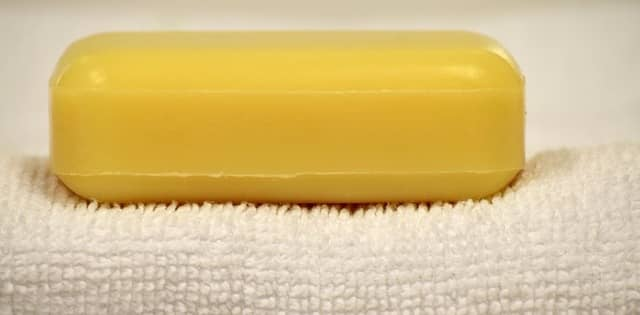 Bar of soap on a towel
