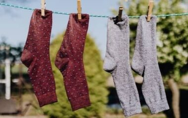 Socks drying on clothes line